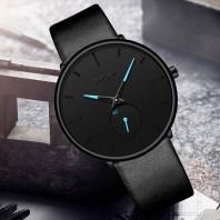 Mens Watches Fashion Minimalist Ultra-Thin Quartz Analog Leather Wrist Watch 30M Waterproof Watch-3084