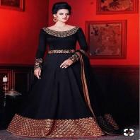 Majestic Black Color Art Silk Designer Party Wear Anarkali Suit-4617
