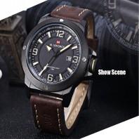 Naviforce Black Leather Quartz Wrist Watch for Men-3031