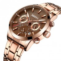 Nibosi Black Rose Gold Luxury Chronograph Watch Stainless Steel Sub Dial-3171