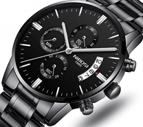 NIBOSI Mens Watches Luxury Fashion Casual Dress Chronograph Waterproof Military Quartz Wristwatches for Men Stainless Steel Band Black Color-3195