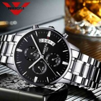 NIBOSI Mens Black Watches Dial Metal Band Luxury Famous Top Brand Men Fashion Casual Dress Military Quartz Silver Wristwatches-3194