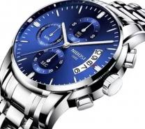 NIBOSI Mens Chronograph Quartz Wristwatch Blue-3297