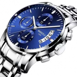 NIBOSI Mens Chronograph Quartz Wristwatch Blue-3297