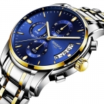 NIBOSI Mens Watches Luxury Fashion Casual Dress Chronograph Waterproof Military Quartz Wristwatches for Men Stainless Steel Blue Calendar Date Watch-3295