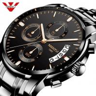 NIBOSI Watch Men Fashion Sport Quartz Clock Mens Watches Top Brand Luxury Business Waterproof Gold Black Watch Relogio Masculino 3327