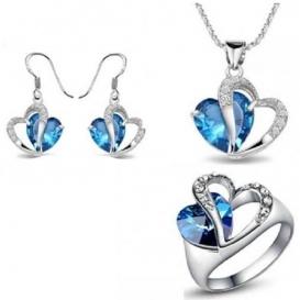 Ocean Blue Crystal Heart Ring--jw5028