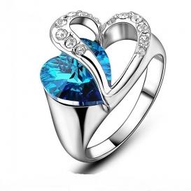 Ocean Blue Crystal Heart Ring-jw5014
