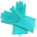 Perfect Pricee 1 Pair Silicone Cleaning Brush Scrubber Gloves for Dishes Car and Pet Dish wash Wet and Dry Glove Set-401