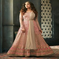 Pink Lustre With Beige Contrast Intrinsic Embroidered Belt Style Flared Anarkali Suit Set-1934