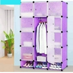 Portable Plastic storage wardrobe-432