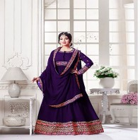 Purple un-stitched georgette with embroidery salwar suit-4628