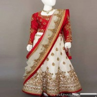 Raw Silk lehenga and choli with antique gold zardosi work-1933