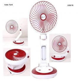 Rechargeable Folding Table-Fan With Light - White and Red198
