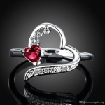 Red Heart Stone Ring for Women 100