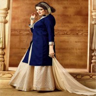 Semi Stitched Navy Blue Banarasi Silk Sharara Salwar Suit-4615