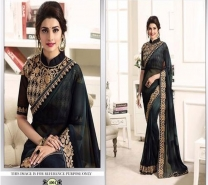 shiwaye black georgette saree with designer blouse piece-4648