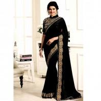 shiwaye black georgette saree with designer blouse piece-4648