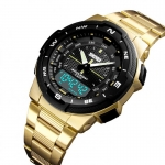 Skmei Gold Stainless Steel Unisex Watch-3357
