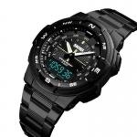 Sports 50 M Waterproof Watches Multi Function Digital 12/24 Chronograph Watches Wristbands PU Men Quartz Watch Men-3352
