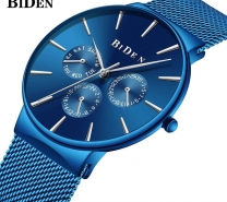 Biden Watch Mens Women Stainless Steel Luxury Business Casual Milanese Mesh Band Wrist Watch Waterproof
