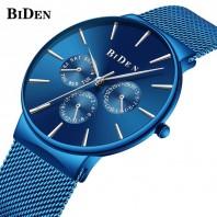 Biden Watch Mens Women Stainless Steel Luxury Business Casual Milanese Mesh Band Wrist Watch Waterproof 3163