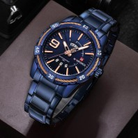 Stylish mens watch water resistant Blue