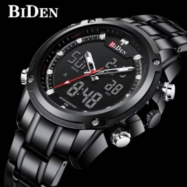 Mens Analogue Digital Watches Men Chronograph Waterproof Sport Watch Military Large Face LCD Back Light Alarm Day Date Stopwatch Multifunctional Wrist Watches for Men Stainless Steel Black -3103
