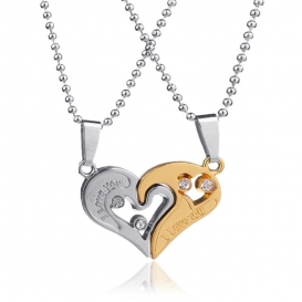 2PCS I Love You Gold Silver Plated Two Heart Pendant Necklace-jw5008