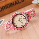 Womens Floral Print Ceramic pink Watch 3343