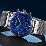 Men's Sub-dials Stainless Steel Watches Milanese Loop Band Quartz Wristwatch for Men-3104