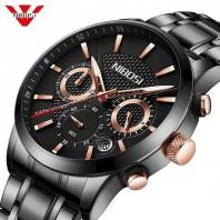 wristwatch Mens Multi Function Luminous All Stainless Steel Black Watch-3180