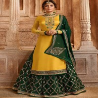 YELLOW AND GREEN SATIN GEORGETTE LEHENGA-1909