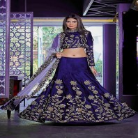 Zeros Bangladesh Embroidered Dhupian silk Party Lehenga Choli-4620